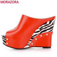 Orange White And Black Color Women S Sandals Sexy Wedges High Heels Summer Shoes Ladies Slippers