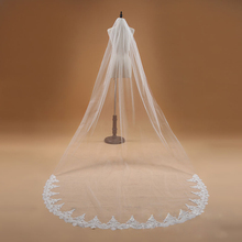 Voile Mariage 3M One Layer Lace Edge White Ivory Cathedral Wedding Veil Long Bridal Veil Cheap Wedding Accessories Veu de Noiva