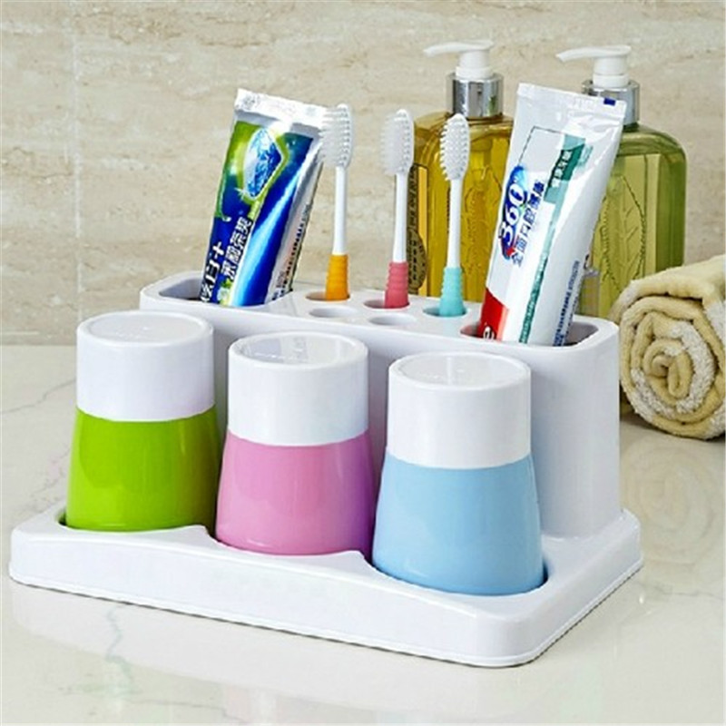 2016 fashion bathroom accessory set toothbrush toothpaste holder cup holder with three water cup toliet washing set in bathroom accessories sets from home - Multi Bathroom 2016