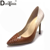 DoraTasia 2018 Snake Printing Large Size 34 47 Customized Pointed Toe Spring Pumps Women Shoes High