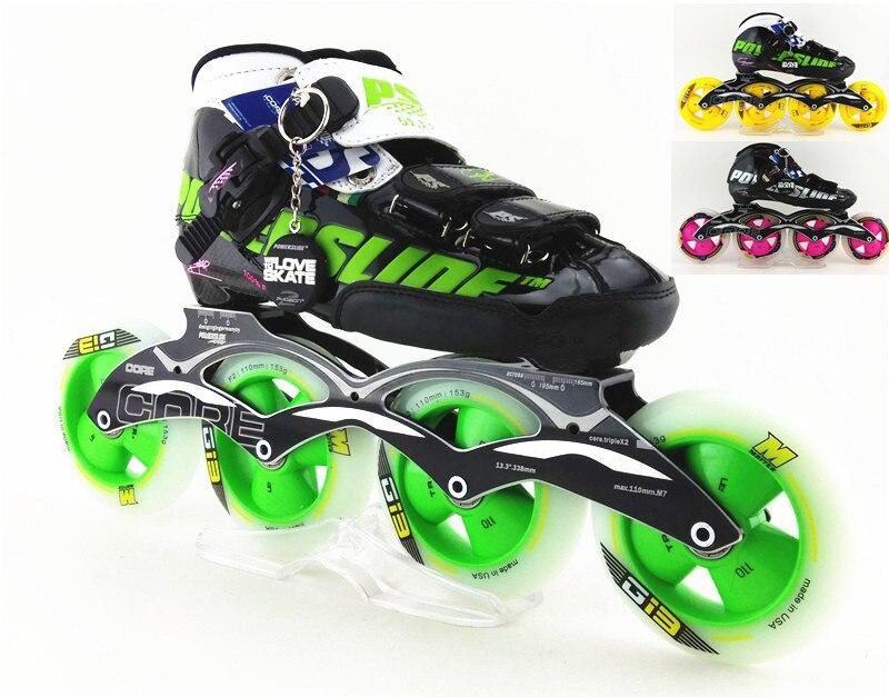 Prix pour PS inline chaussures de patinage de vitesse Professionnel enfant adulte patins à roulettes 4 roues 110mm 100mm patins à roues alignées roues