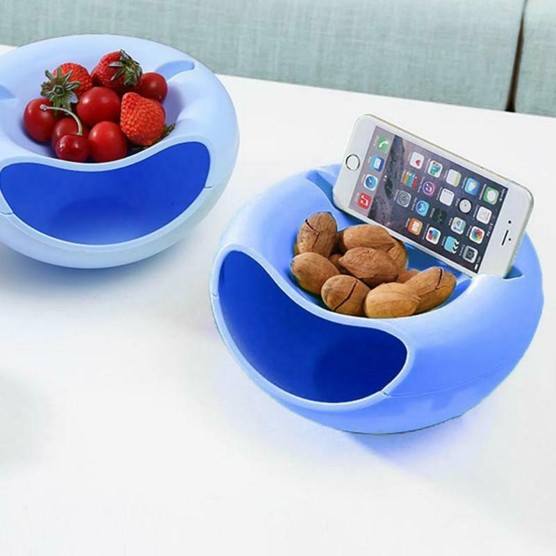 Image 4 - Lazy Plastic Double Layer Dry Fruit Containers Snacks Storage Box Garbage Holder Desktops Plate Dish Organizer-in Storage Boxes & Bins from Home & Garden