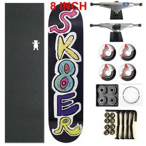 Image 4 - 스케이터 1 세트 프로 품질 완료 스케이트 보드 데크 8 인치 스케이트 보드 바퀴 및 트럭 더블 로커 스케이트 보드 부품