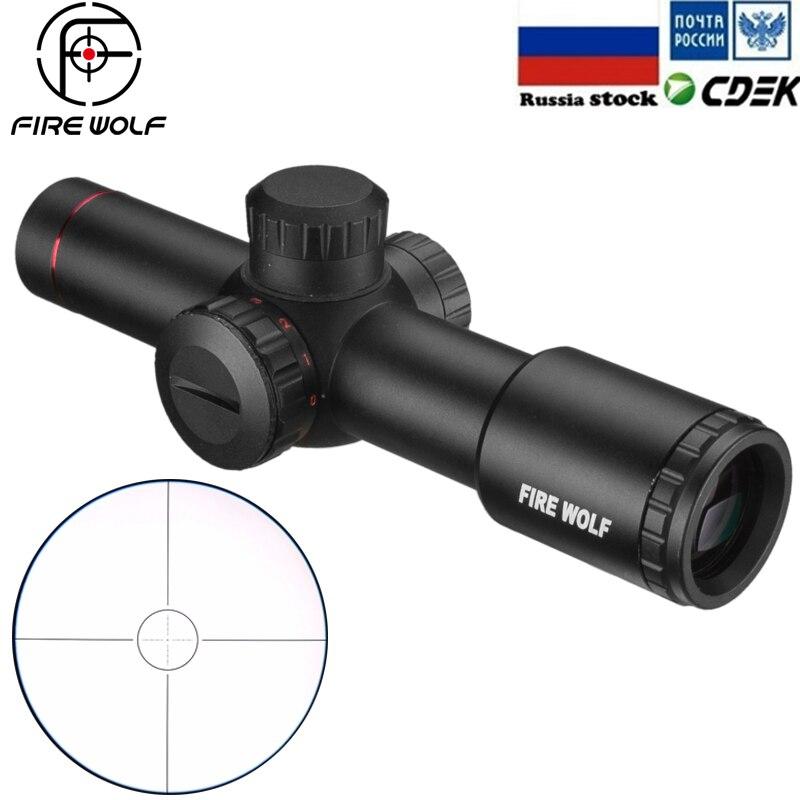 Lobo de fuego táctico AK47 AK74 AR15 caza alcance 4.5X20E rojo iluminación Mil-Dot Riflescope