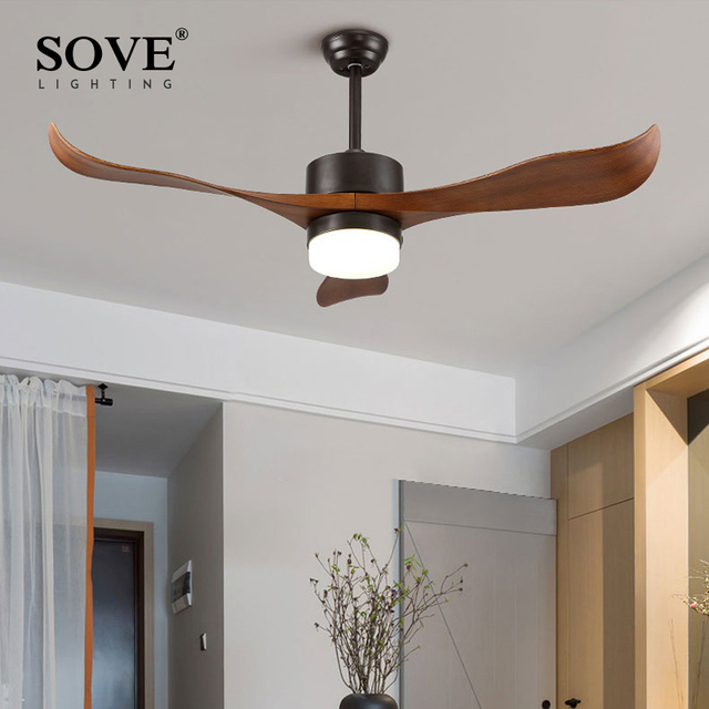 Sove Modern LED Brown Village Ceiling Fans With Lights Minimalist Dining  Room Living Room White Ceiling
