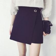 HAO HE SHEN 2017 new female student summer skirt all-match high waisted A-line A summer skirt thin irregular skirt