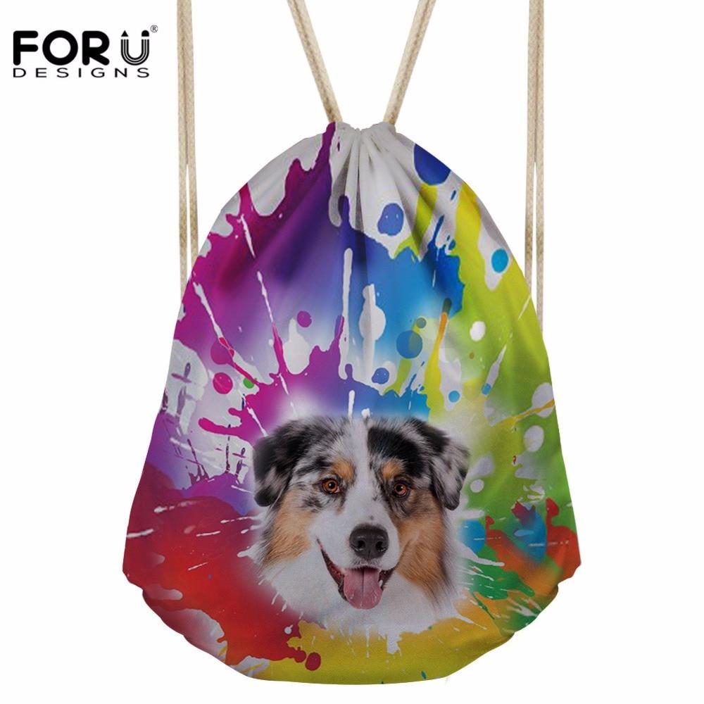 FORUDESIGNS Women's Drawstring Bag Craffiti Dog Bundle Pocket Girls Logo Customized Backpack For Kids Stachel Travel Gift Bolsos