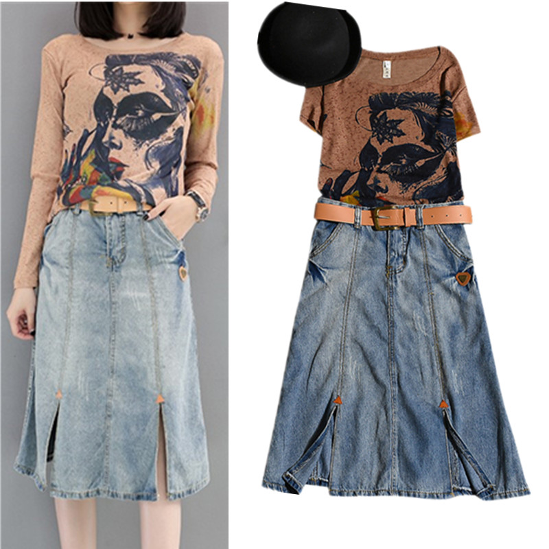 Ensemble Dames Sleeve D'impression Nouveau short Café De Mode Printemps Jeans Twinset Costumes Femmes shirts Et T Avec Sleeve Ns950 Été Long Denim Tops Frais La Ceinture Jupe qFxqOzw7f