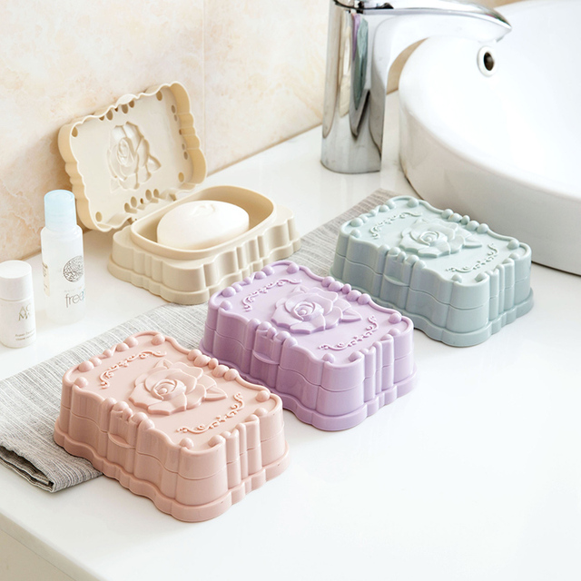 Hot new waterproof soap box with lid Soap Dish Case Soapbox Draining Holder Container  Bathroom accessoriesr Storage rack