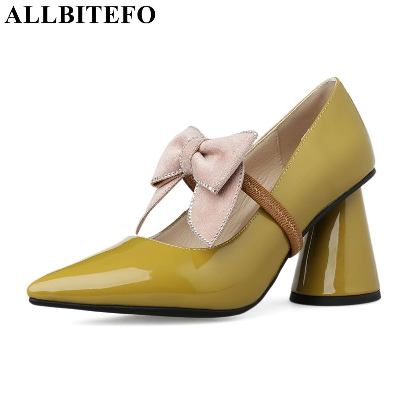 ALLBITEFO genuine leather women high heel shoes pointed toe spike heel sexy women shoes fashion rhinestone