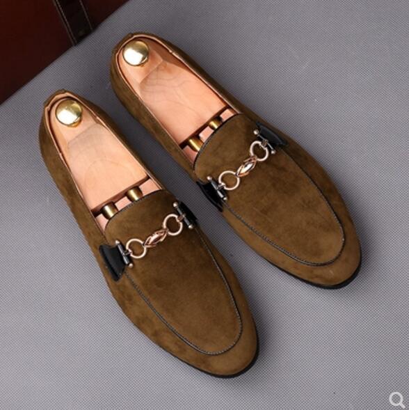 plus récent 8d80b 84c3b € 38.53 |Nouveauté 2019 hommes daim cuir mocassins chaussures Vintage  Designer métal haute qualité appartements rouge kaki mariage mode pilote ...