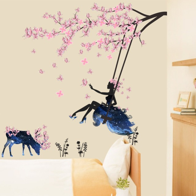 DIY Beautiful Flower Fairy Deer Wall Sticker Home Decor Decals Wing Butterfly Girls Room Living