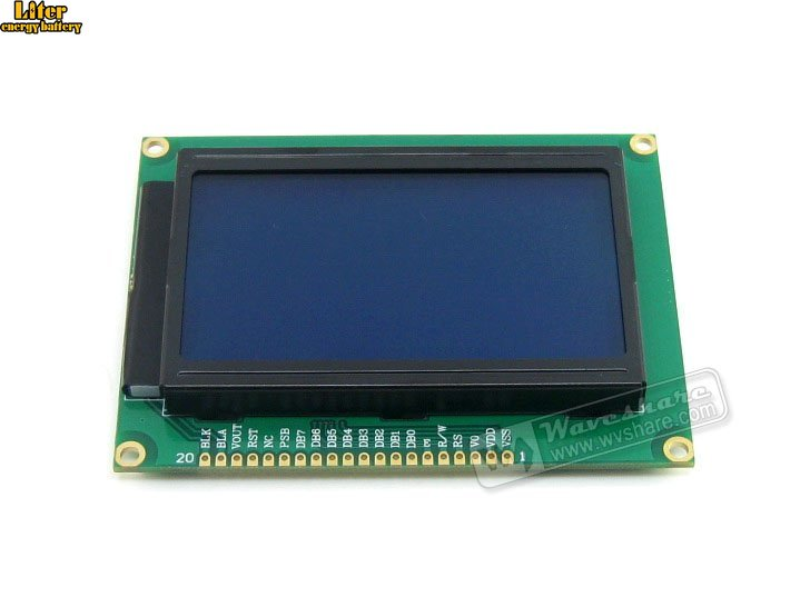 3.3V 12864 Graphic LCD Module With128x64 Dots And ST7920 / ST7921 IC TN/STN Blue Backlight White Character3.3V For Logic Circuit