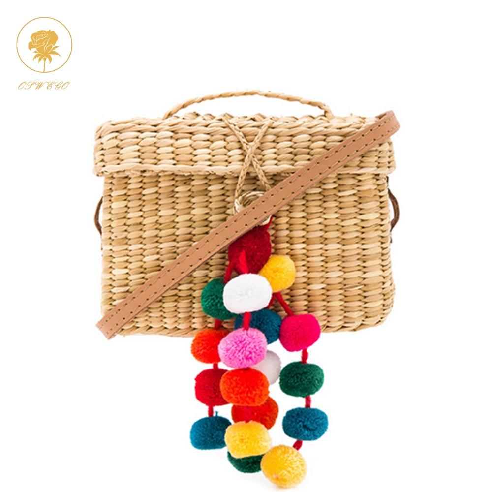 OSWEGO 밀짚 가방 색상 공 장식 여성 여름 비치 가방 커버 바구니 모양 여행 손으로 Drawstring 가방에 늘어서있다