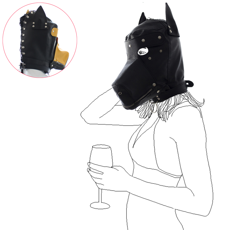 PU Leather Dog Puppy Hood Mask Cosplay Headgear Mouth Gag Costume Full Mask New
