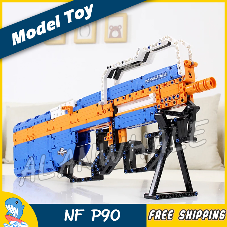 581PCS New Model FN P90 Shot Gun Weapon For Military Assault Soldier Building Kit Blocks Toys Shell Brick Compitable with Lego kazi 228pcs military ship model building blocks kids toys imitation gun weapon equipment technic designer toys for kid