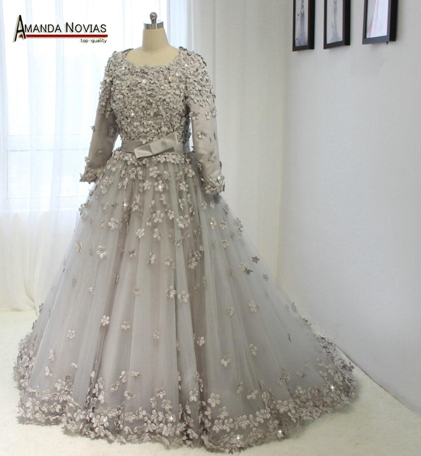 Ns1372 full hand made flower muslim wedding dress with for Three quarter wedding dresses