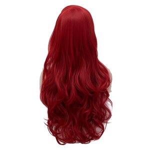 Image 4 - Jessica Tavşan Dalgalı Uzun Şarap kızıl saç Küçük Denizkızı Prenses Ariel Isıya Dayanıklı Cosplay Kostüm Peruk + Peruk Kap