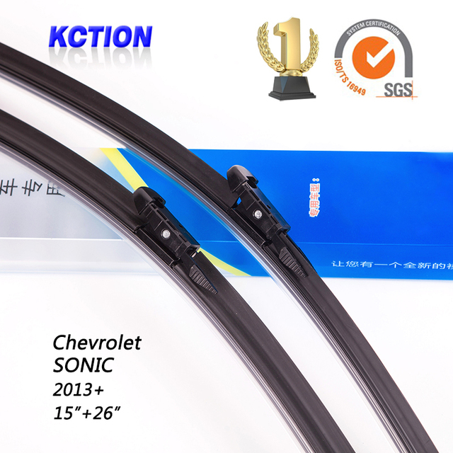 "Car windshield wiper blade para chevrolet sonic (2013 +), 15 ""+ 26"", borracha Natural, bracketless limpa, Acessórios do carro"