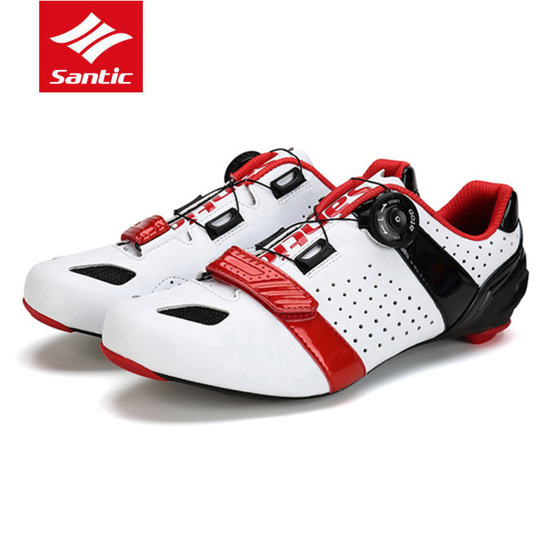 SANTIC Auto-lock Cycling Shoes Ultra Lightweight carbon fiber sneakers off cycling road Self-Latching Sports Bicycle Mtb Shoes антиугон auto lock