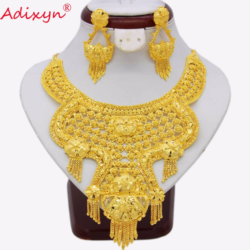 Adixyn 2018 India Tassel Necklace Earrings Jewelry Set For Women Gold Color/Copper African/Ethiopian/Dubai Wedding/Party GiftsAdixyn 2018 India Tassel Necklace Earrings Jewelry Set For Women Gold Color/Copper African/Ethiopian/Dubai Wedding/Party Gifts