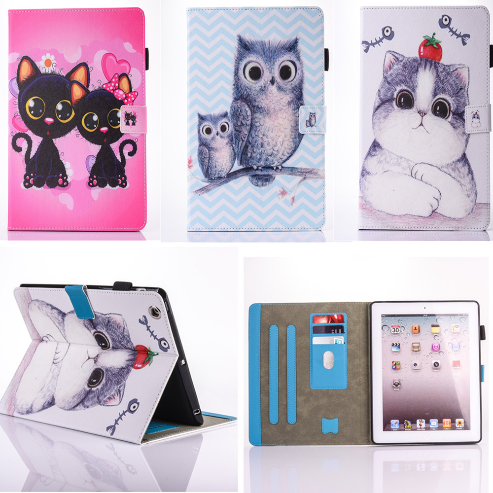 High Quality OWI Cat Pattern Flip pu Leather With Soft TPU Back Stand Shell Kids Cover Case for Apple Ipad 2 3 4 9.7 inch Tablet for ipad mini4 cover high quality soft tpu rubber back case for ipad mini 4 silicone back cover semi transparent case shell skin