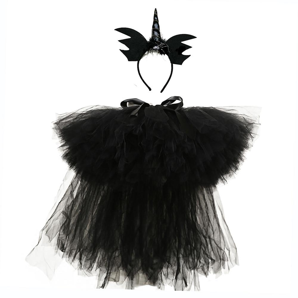 Black Puffy Skirts for Girls Unicorn Tutu Birthday Party Skirt Knee Length Elastic Nylon Tulle Princess