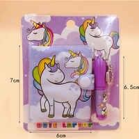 Unicorn Flamingo-Mini cuaderno Kawaii con bolígrafo, rosa y morado Bloc de notas, regalos de papelería creativos para niños
