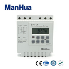 Manhua New Product  White Panel Mounted and Big LCD  16A,380V AC Daily weekly cycle 3 Phase Digital Timer Switch  MT317/KG317T