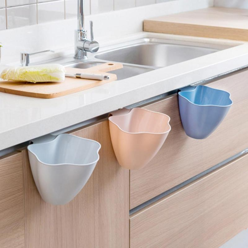 Creative Kitchen Trash Can Hanging Debris Storage Basket Multifunction Desktop Storage Box Plastic organizer cleaning Bucket 2
