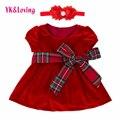 Bebê vermelho meninas dress styl verão roupas definir criança roupas de manga curta ternos meninas vestidos de festa 2017 da menina da criança