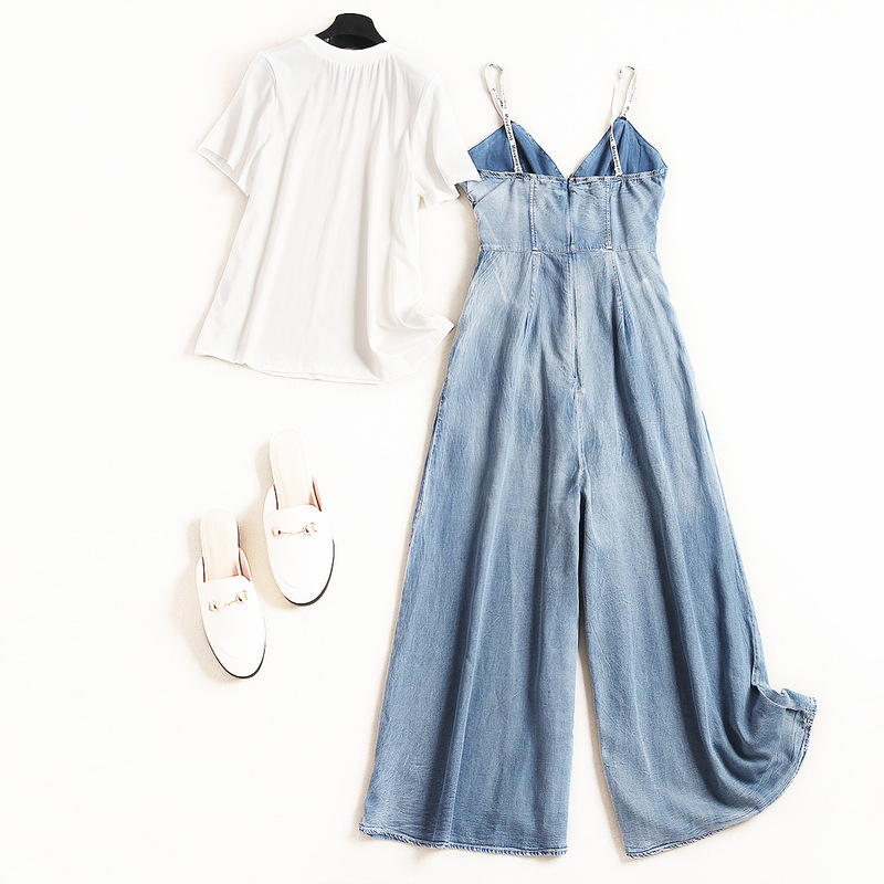Shuchan Fashion 2019 2 Piece Set Women Cotton White T-shirt+denim Rompers Conjunto Feminino Womens Sets High Quality 50527