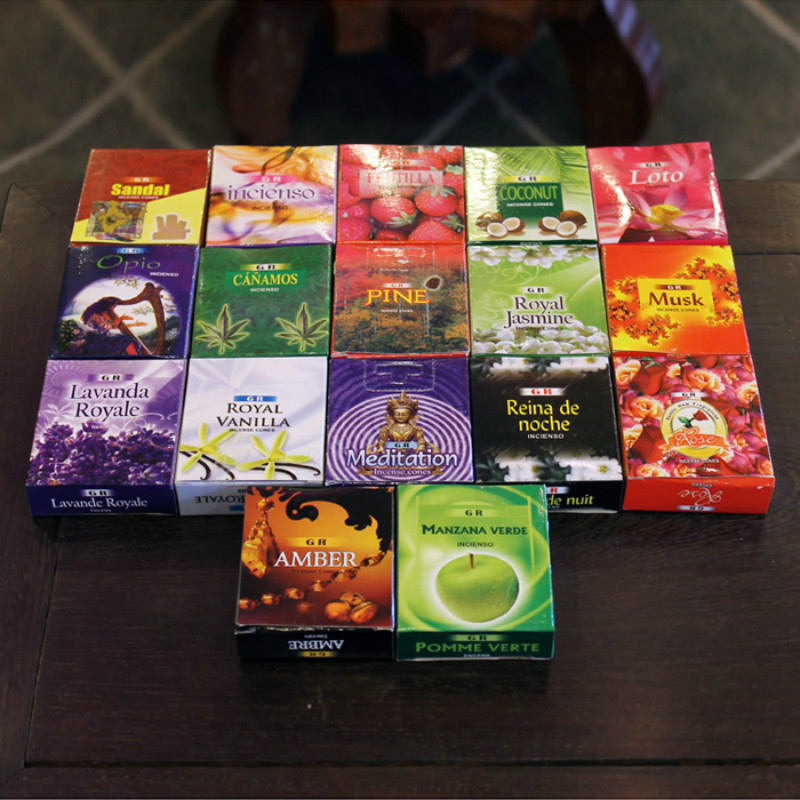 GR Indian Natural Imported Fragrance Perfume Formal Tower Incense Sandalwood Lavender Jasmine Amber National Tibetan Lotus Q $