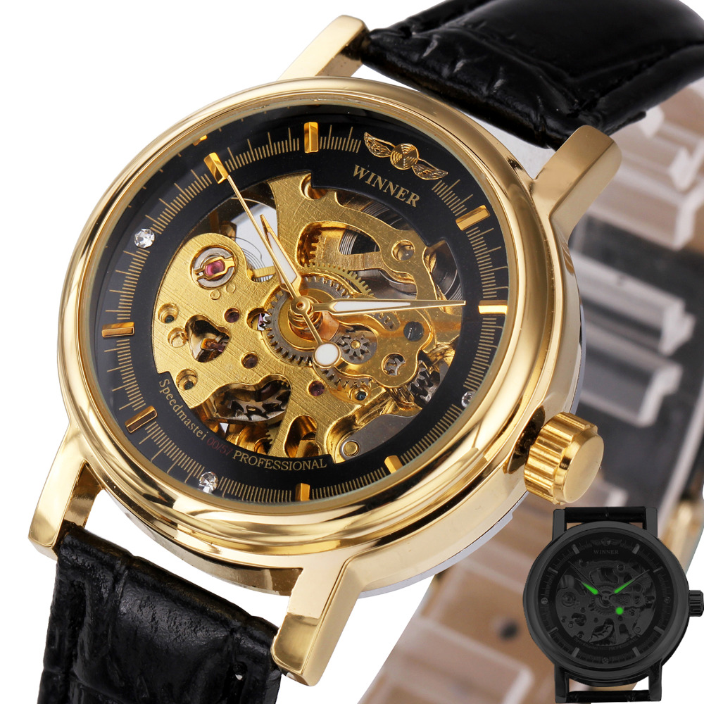 Golden Luxury Women Mechanical Wrist Watches Top Brand Louvre Series Crystal Decoration Dial Ladies Skeleton Watches WINNER