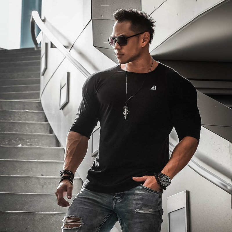 Style Males O Neck Lengthy Sleeve Tee Shirts Slim Stable White Crimson T-Shirt Tops Informal Muscle Tops Mens summer season autumn clothes XXL T-Shirts, Low cost T-Shirts, Style Males...