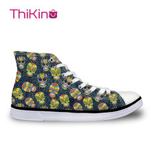 Thikin Candy Skull Paint High Top Canvas Casual Shoes for Teenager Popular Women Dog Pattern Sneaker Lovers