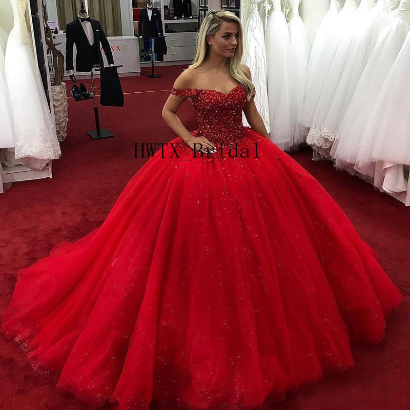 f5aca756564d Luxury Crystal Quinceanera Dresses Red Plus Size Off The Shoulder Corset Ball  Gown Sweet 16 Dress Sequins Tulle Prom Party Wear