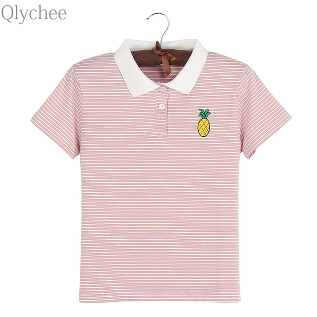 Qlychee Pineapple Embroidery Stripe Polo Women Summer Short Sleeve