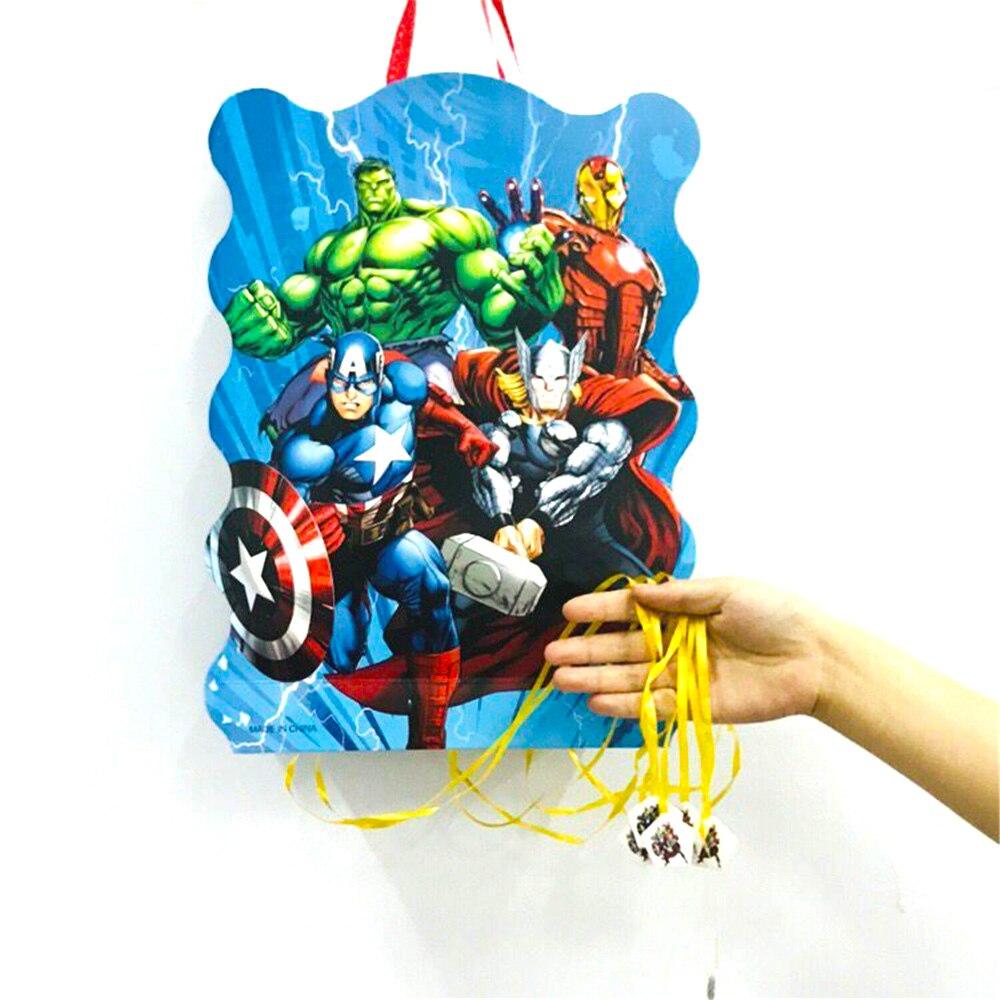 40*30cm Avenger Party Supplies Paper Pinata Disposable Cartoon Theme Baby Shower Kids Birthday Superhero Party Decoration Favor