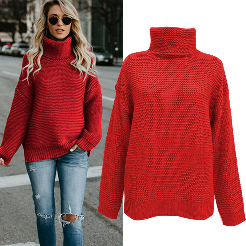 Women Winter Autumn Turtle Neck Baggy Sweater Knitted Oversized Solid  Jumper Tops FS99 6b1e0c29a