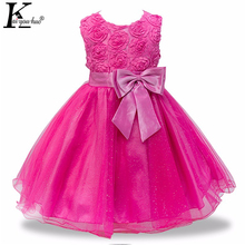 KEAIYOUHUO 2018 New Flower Kids Wedding Dresses For Girls Sleeveless Clothes Summer Dress Childrens Clothing Girls