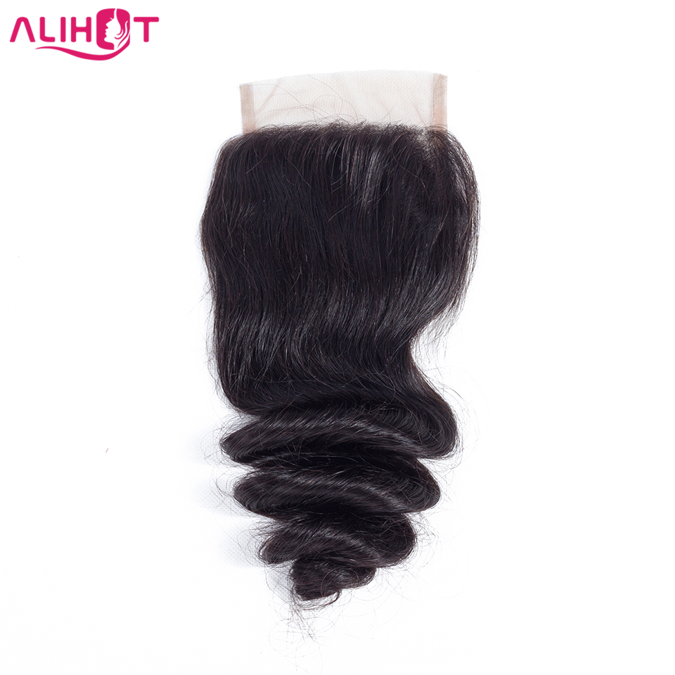 ALI HOT Hair One Piece Brazilian Loose Wave 4*4 Free Part Lace Closure 130% Density Swiss Lace Remy Human Hair Natural Color