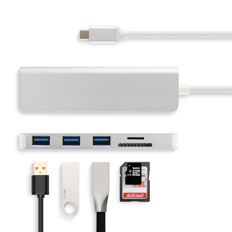 5-en-1 Type-C HUB Aluminiu Alliage USB-C Adaptateur Salut-Vitesse USB 3.0 Port SD /TF Lecteur de Carte Pour Huawei Matebook E X Pro Tablet Ordinateur Portable