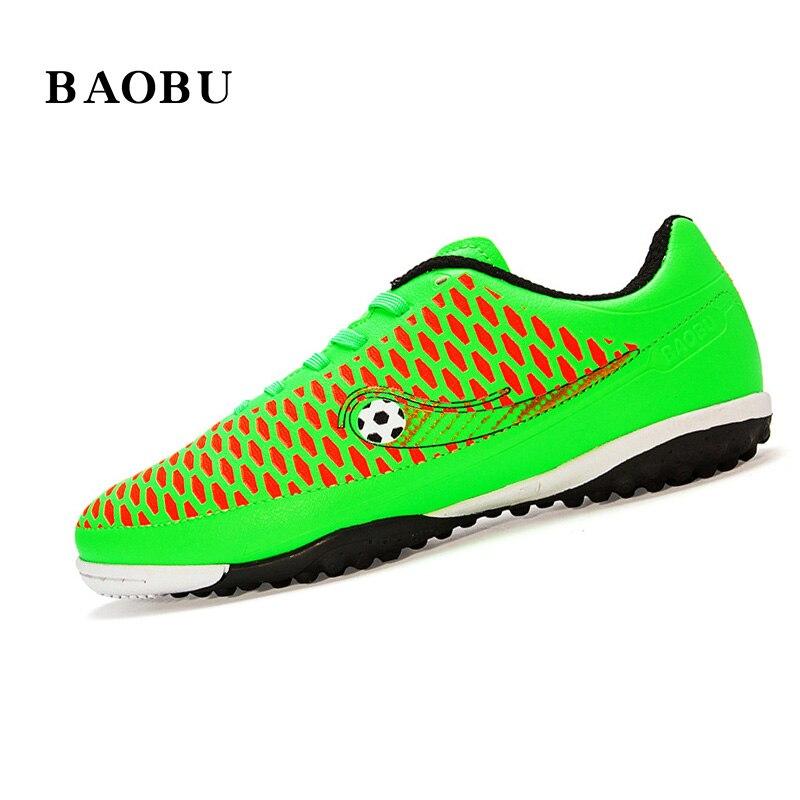 ФОТО BaoBu Professional Indoor Soccer Shoes Men Women Athletic Training Shoes TF Turf Rubber Sole Football Boots chuteira futebol