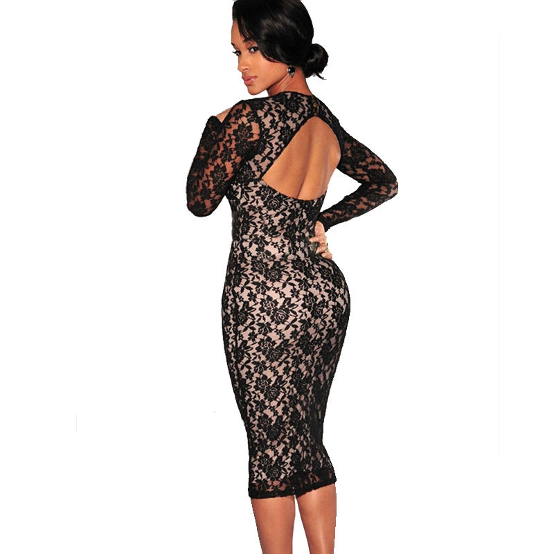 Olrain Women s Sexy Backless Cut-out Lace Midi Dress Party Pencil Evening  Club Bodycon Dress a1ba7df68cc2