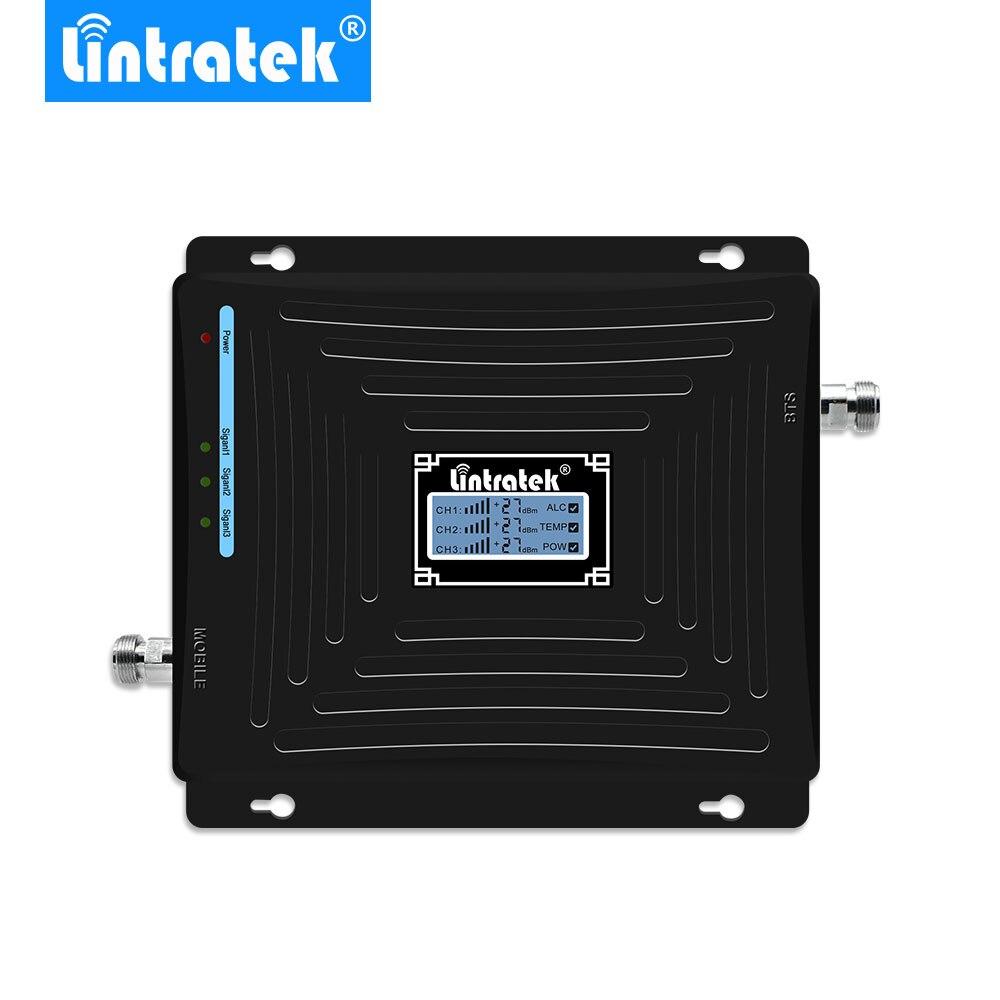 Lintratek LCD Amplificateur De Signal Mobile 900 MHz 1800 MHz 2100 MHz W-CDMA Repetidor GSM 2G 3G 4GLTE Triple Bande Téléphone Portable Amplificador.