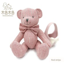 Hand-made Cute mini doll 15 cm pink striped pattern design teddy bear pass EN71 test report  CE mark and Reach docs plush toys