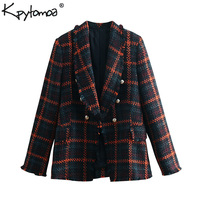 Vintage Chic Double Breasted Frayed Tweed Blazers Coat Women 2019 Fashion Long Sleeve Plaid Tassel Outerwear Casual Casaco Femme