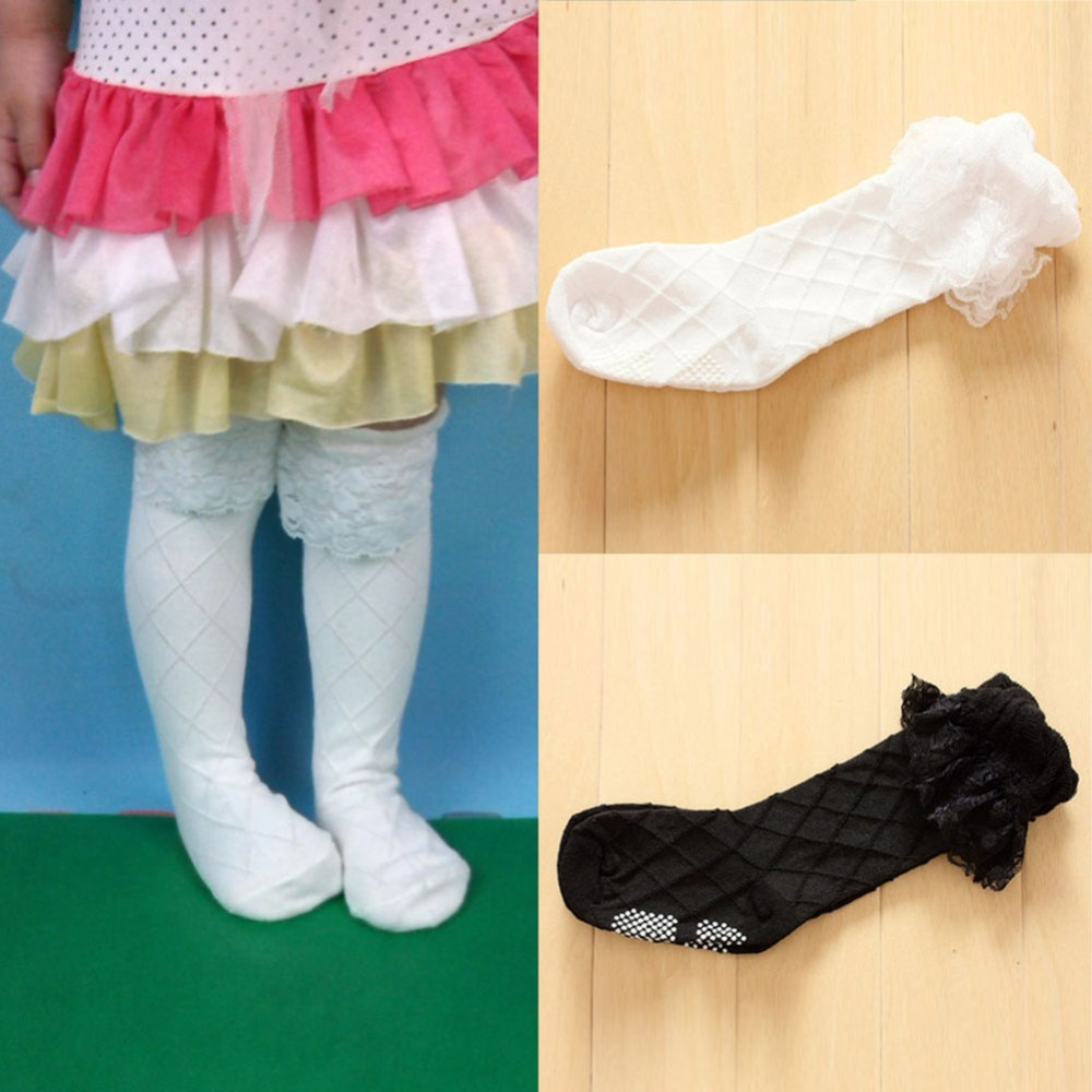 558ce28cf Toddler Girls Lace Socks Thick Cotton Knee Length High Socks 3 8Y Children  Sock-in Socks from Mother   Kids on Aliexpress.com