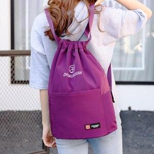 Image 5 - School Backpack for Teenage Girl Mochila Feminina Escolar Women Backpacks Nylon Waterproof Casual Bagpack Female Drawstring